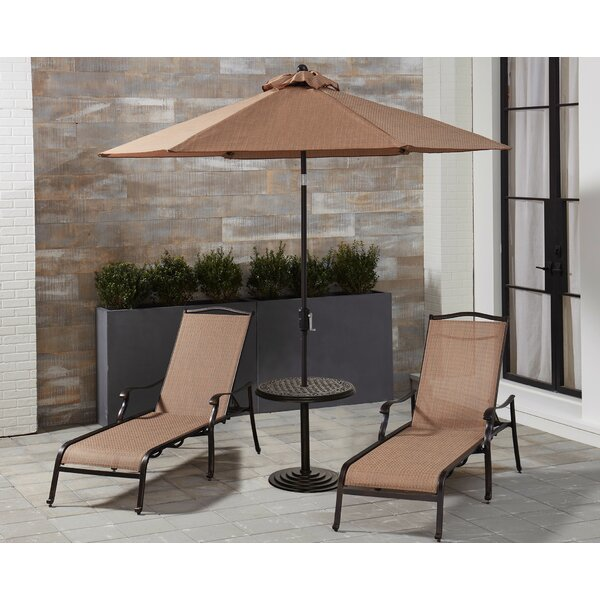 Oakpark Sun Lounger Set with Table and Umbrella