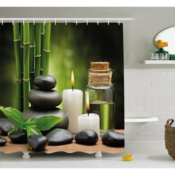 Spa Hot Massage Rocks Combined with Candles and Scents Landscape of Bamboo Shower Curtain Set by Ambesonne