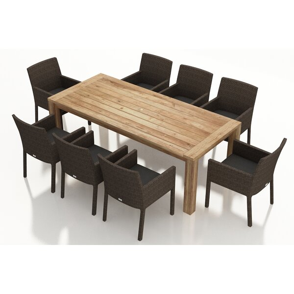 Arden 9 Piece Teak Dining Set with Sunbrella Cushions by Harmonia Living