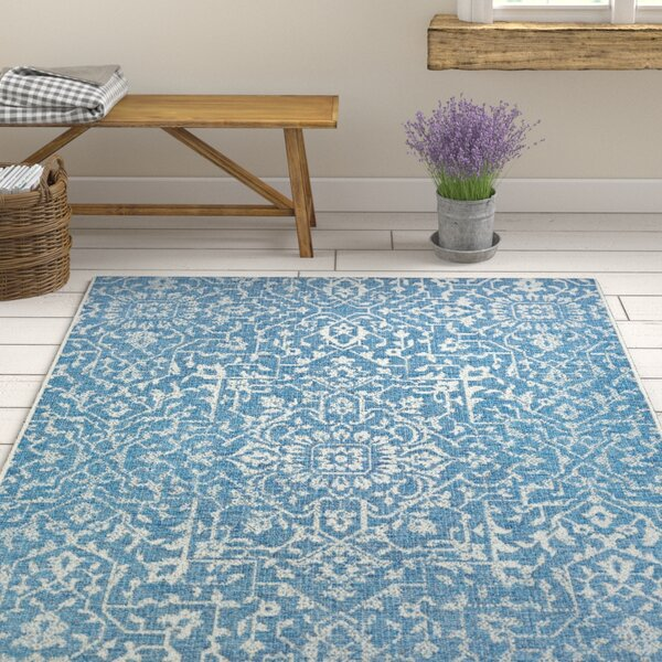 Kraatz Palmette Ocean Indoor/Outdoor Area Rug by Ophelia & Co.