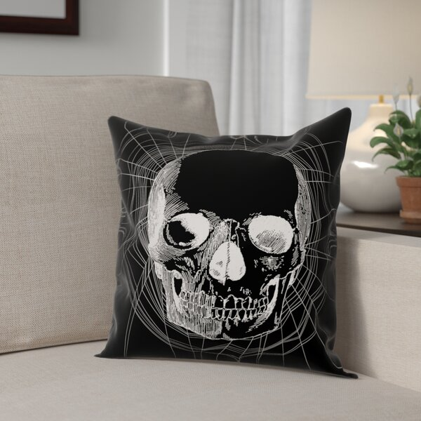 Webbed Skull Throw Pillow by The Holiday Aisle