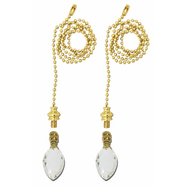 Fan Pull Chain with Pear Shaped Crystal Finial (Set of 2) by Royal Designs