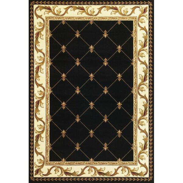 Barwin Fleur De Lis Black Area Rug by Astoria Grand