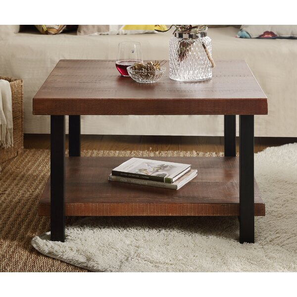 Marilynn 4 Legs Coffee Table with Storage by Union Rustic