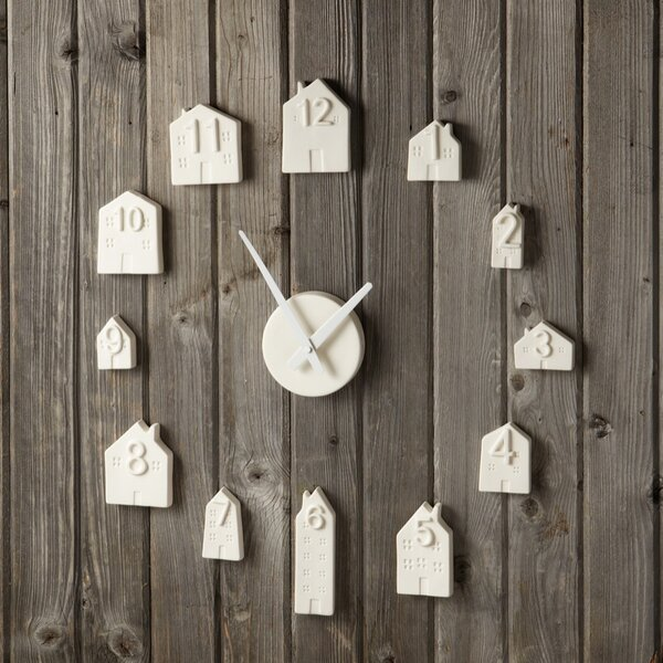 India Porcelain Bisque House Wall Clock by Brayden Studio