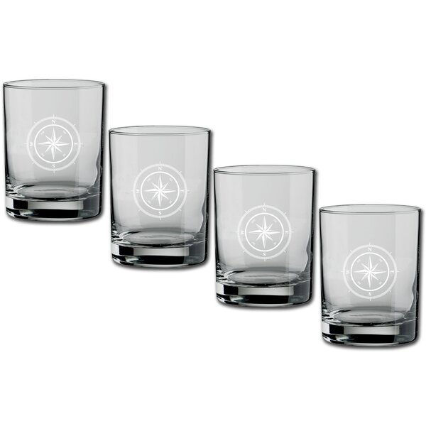 Fidler Compass Point Double Old-Fashioned 14 oz. Crystal Cocktail Glass (Set of 4) by Breakwater Bay