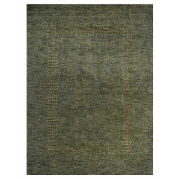 Tillia Hand-Knotted Wool Green Area Rug by World Menagerie