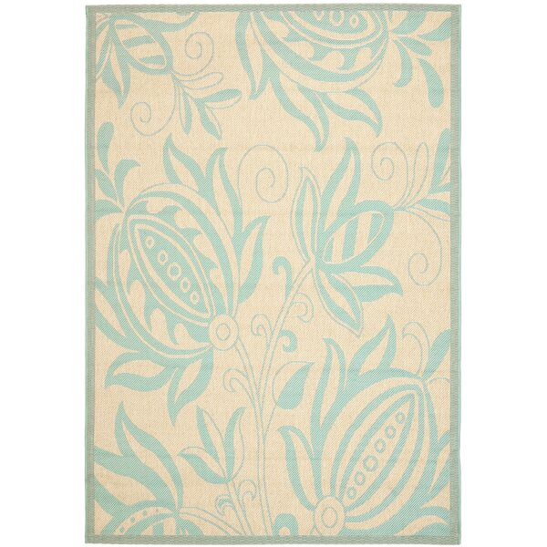 Marcella Cream/Aqua Indoor/Outdoor Area Rug by August Grove