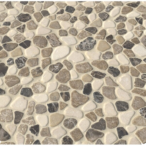 Mix Tumbled 12 x 12 Marble Pebble Mosaic Tile in Multicolored by MSI