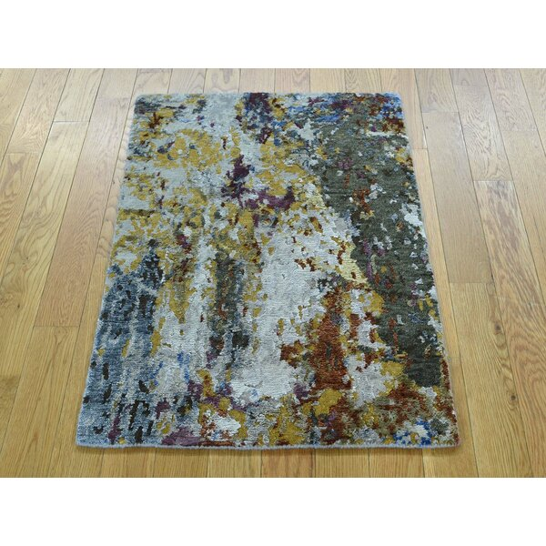 One-of-a-Kind Bowerston Abstract Design Handwoven Wool/Silk Area Rug by Isabelline