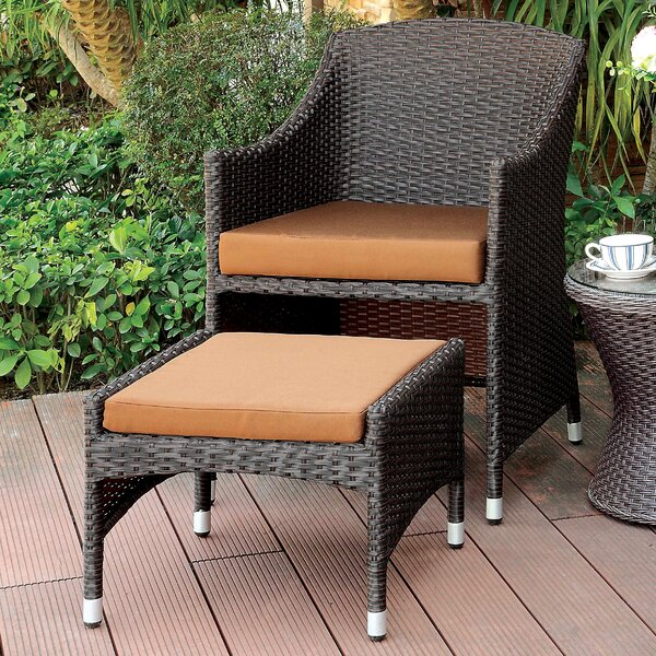 Hagemann Patio Chair with Cushions and Ottoman by Darby Home Co