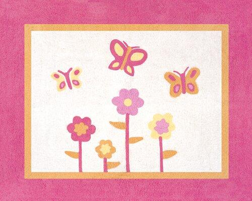 Butterfly Floor Pink/Orange Area Rug by Sweet Jojo Designs