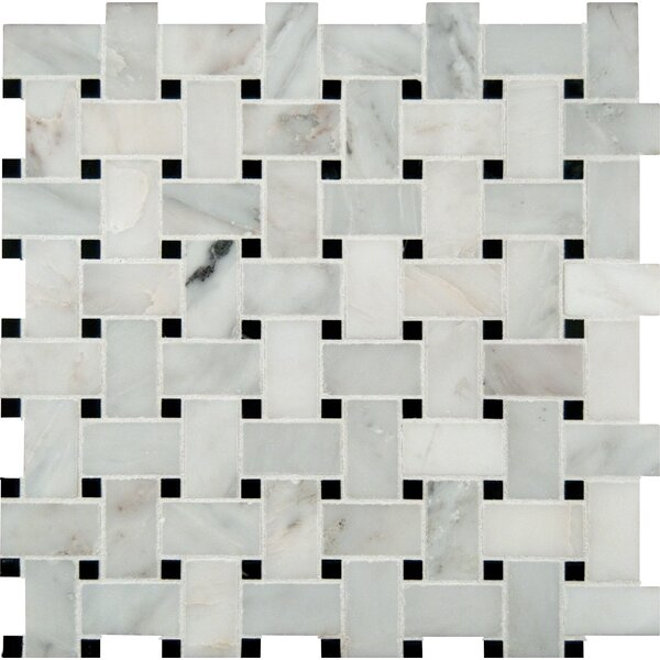 Greecian Basketweave Pol Marble Mosaic Tile in White by MSI