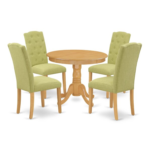 Shivendra 5 Piece Solid Wood Dining Set By Winston Porter