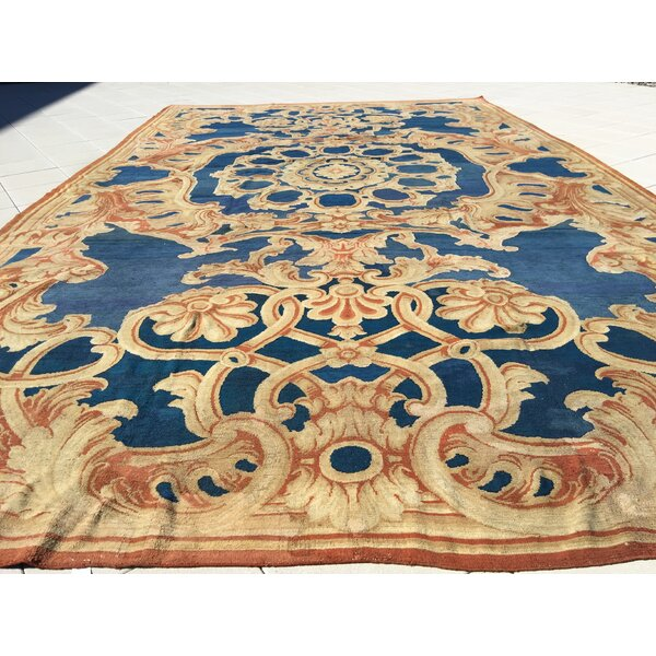 One-of-a-Kind Hand-Knotted Before 1900 Navy/Brown 15' x 28' Wool Area Rug
