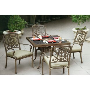 Palazzo Sasso 5 Piece Dining Set with Cushions By Astoria Grand
