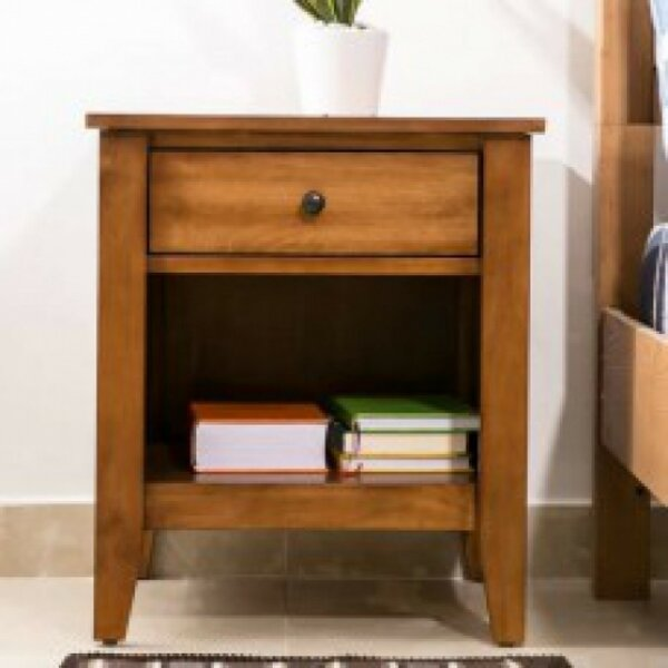 Dighton Wood 1 Drawer Nightstand by Red Barrel Studio
