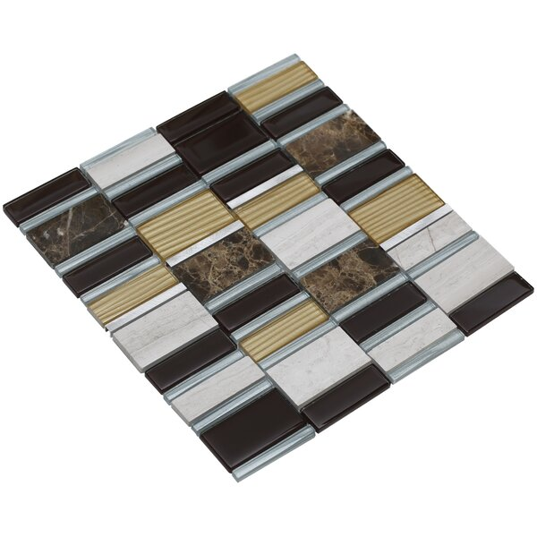 Tallia 12 x 12.5 Glass/Stone/Metal Mosaic Tile in Mahogany/Gold by Mirrella