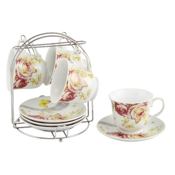 Coffee Cups on Metal Stand Floral Set (Set of 4) by Lorren Home Trends