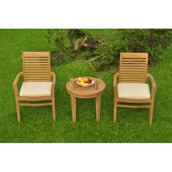 Koret 3 Piece Teak Bistro Set by Rosecliff Heights
