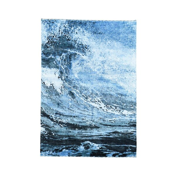 One-of-a-Kind Pegues rayon from Bamboo Surf Ocean Abstract Hand-Knotted Silk Blue/White Area Rug by World Menagerie