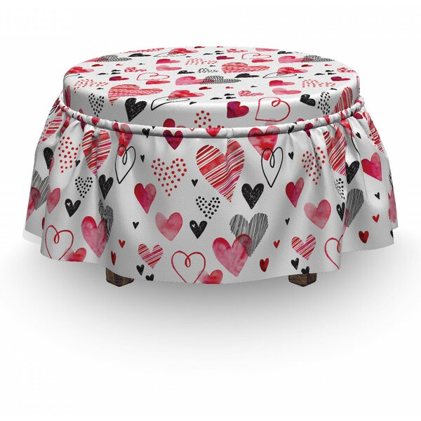 Valentines Doodle Heart Designs 2 Piece Box Cushion Ottoman Slipcover Set By East Urban Home