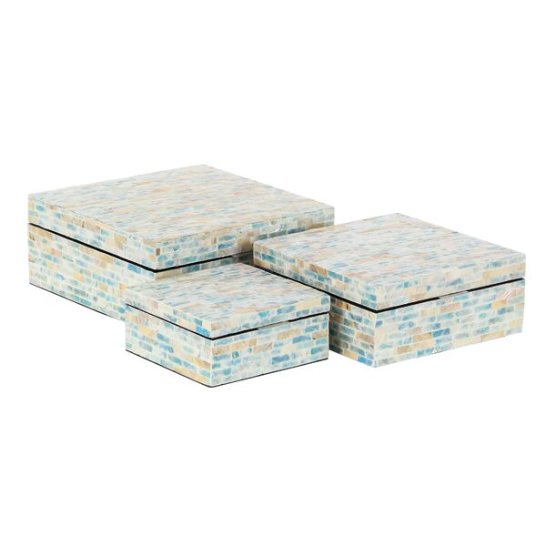 Totterdell Natural Rectangular 3 Piece Decorative Box Set with Lid by Rosecliff Heights