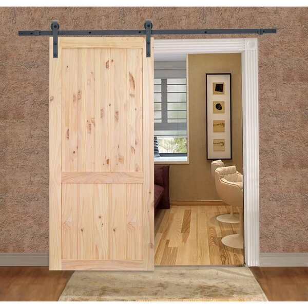 Unfinished 2-Panel Solid Wood Panelled Knotty Pine Slab Interior Barn Door by Calhome