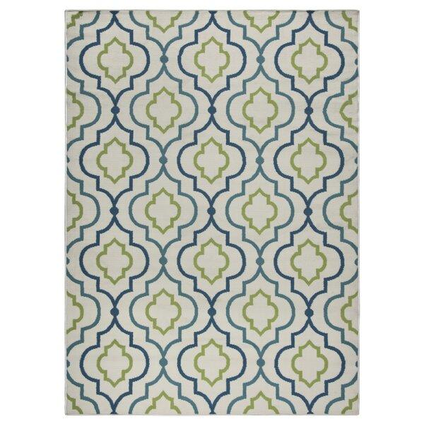 Lucia Ivory/Green/Navy Blue Indoor/Outdoor Area Rug by Zipcode Design