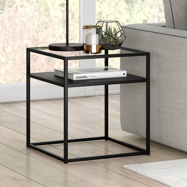 Fiesta Glass Top Frame End Table With Storage By Latitude Run