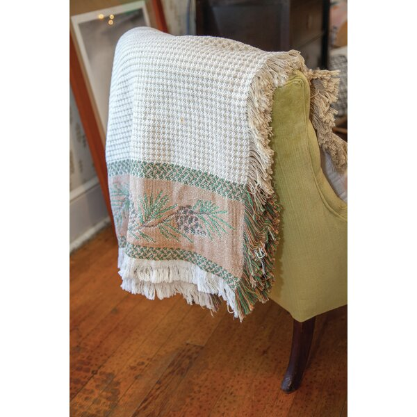 North Woods Pine cone 2 Layer Cotton Throw by Manual Woodworkers & Weavers