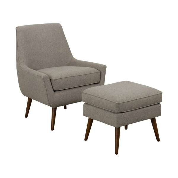 Havard Fabric Upholstered Wooden Side Chair and Ottoman (Set of 2) by George Oliver