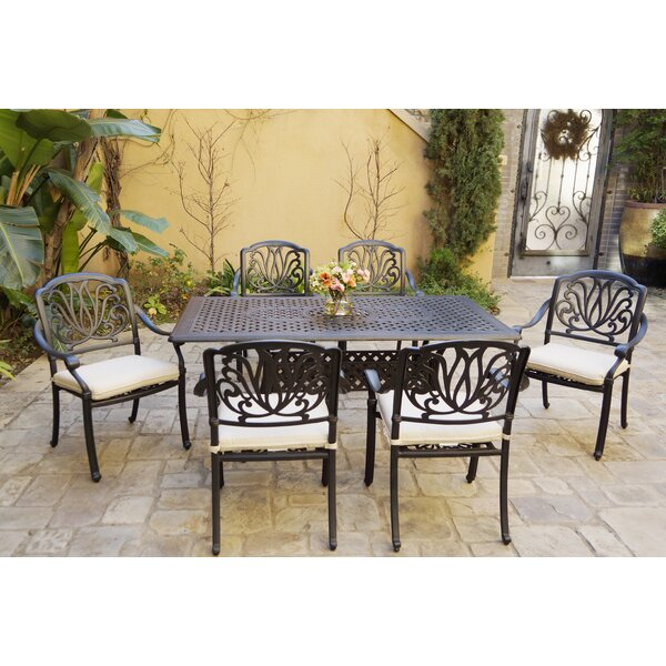 Buker 7 Piece Dining Set with Cushions by Canora Grey