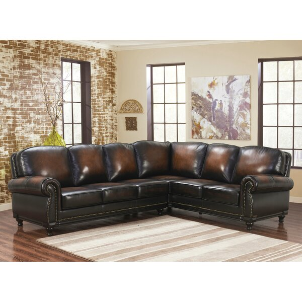 Boulton Leather Corner Sectional by Canora Grey
