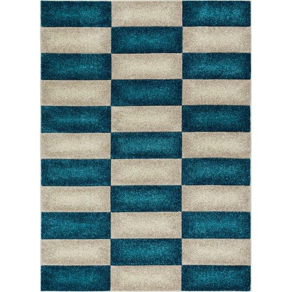 Herring Mid-Century Modern Geo Color Blocks Blue Area Rug by Ebern Designs