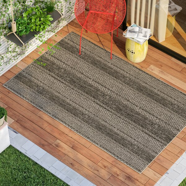 Myers Striped Gray/Black Indoor/Outdoor Area Rug by Mistana