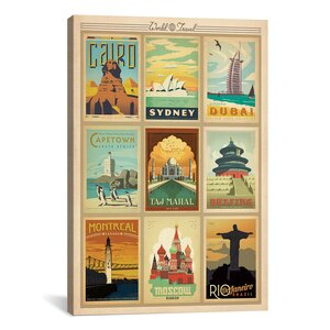 'World Travel' Memorabilia on Canvas by East Urban Home