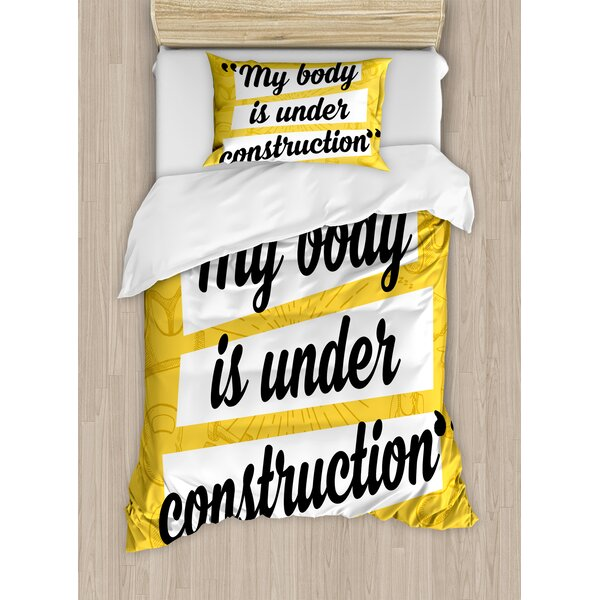 My Body in Under Construction Hand Drawn Text Sports Healthy Living Icons Duvet Set by East Urban Home
