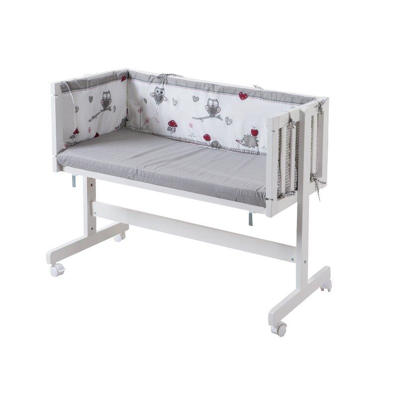 Liegefl/äche Inklusive Matratze roba Beistellbett Adam /& Eule Nestchen und Schlafsack 70 cm wei/ß 87,5 x 44 cm