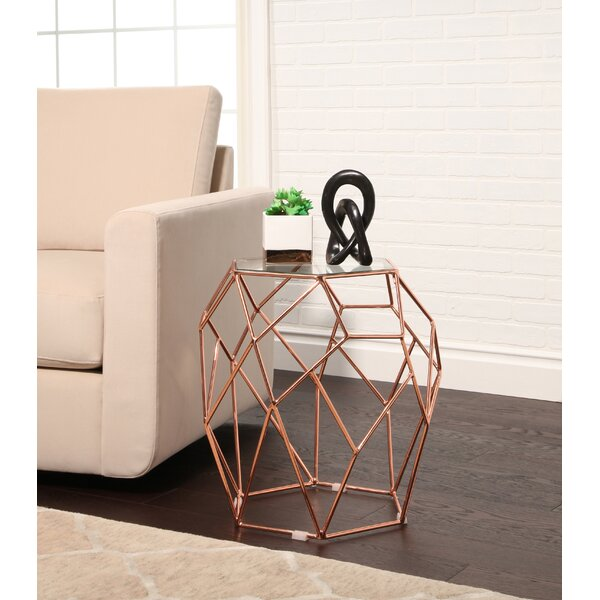 Buchanan Glass Top Stainless Steel End Table by Ivy Bronx