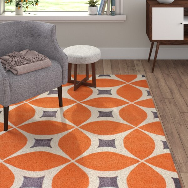 Sorrento Hand Woven Orange Area Rug by Langley Street
