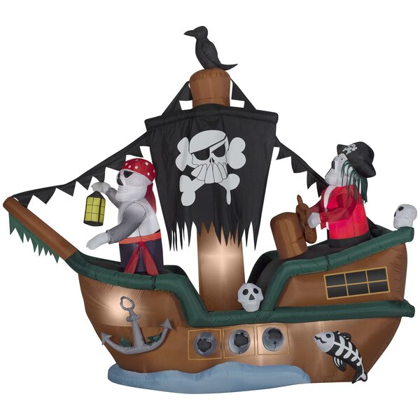 Animated Skeleton Pirate Ship HD Direct Inflatable by The Holiday Aisle
