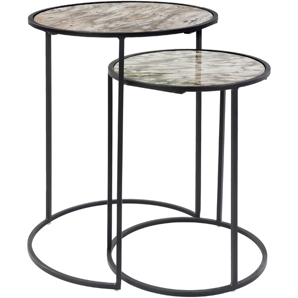 Home & Outdoor Terrapin Glass Top Frame Nesting Tables Set