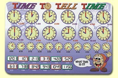 Time To Tell Time Placemat (Set of 4) by Painless Learning Placemats