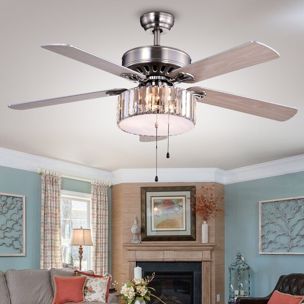 52 Dixie Crystal 3-Light 5 Blade Ceiling Fan by House of Hampton