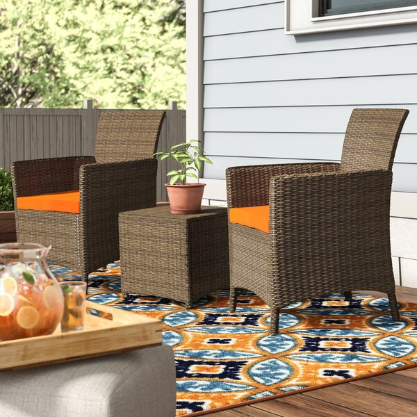 Mike 3 Piece Rattan Seating Group with Cushions Zipcode Design W001150734