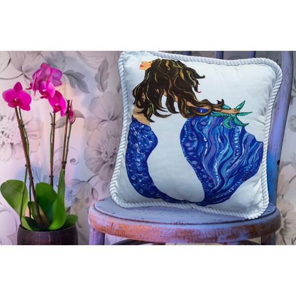 Mermaid Brunette Throw Pillow by My Island