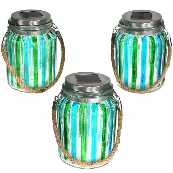 Striped Solar Lantern Glass Jar 5 Light LED Step L