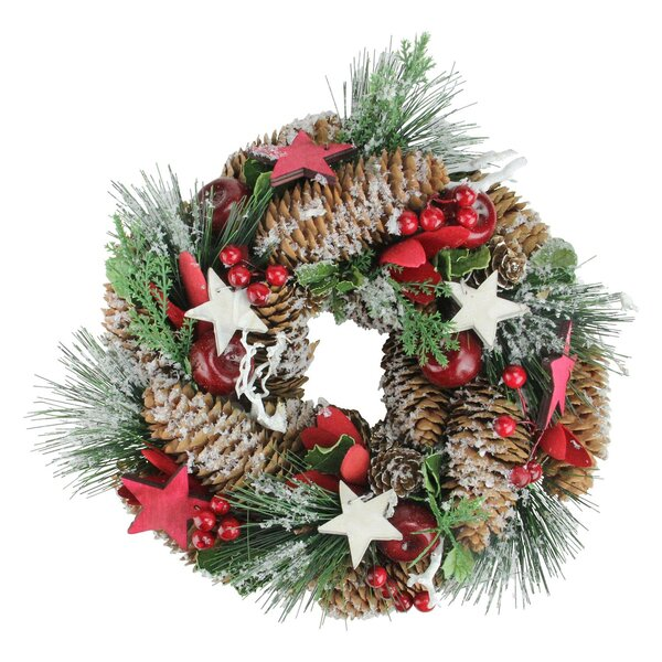 Christmas 13.25 Pine Cones Frosted Wreath by The Holiday Aisle