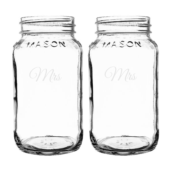 Mrs. and Mrs. 26 oz. Mason Jar (Set of 2) by Cathys Concepts